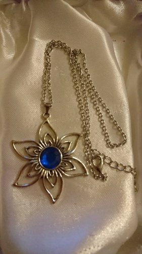 Collier Necklace silver-colored-blue stainless steel
