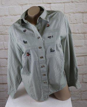 Süße Frühlings Bluse mit Stickerei Meico Landhaus Look Größe 42 44 Grün Weiß Streifen gestreift Biesen Trachten