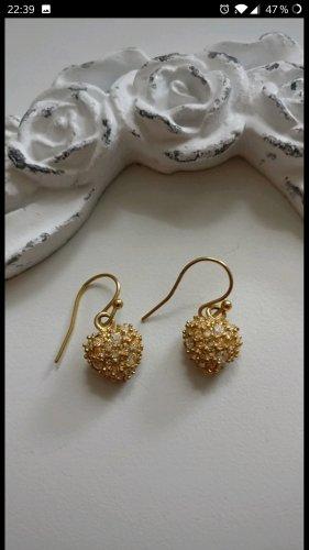 Süße Herzchen-Glitzer-Ohringe von Pilgrim,Gold,neuwertig