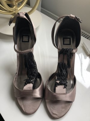 T-Strap Sandals grey brown-silver-colored