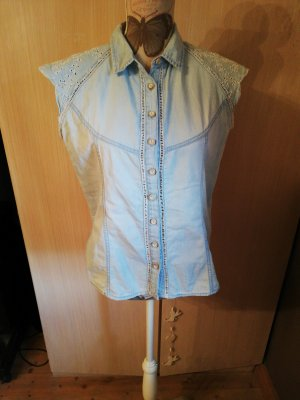 Bershka Blusa vaquera blanco-azul claro