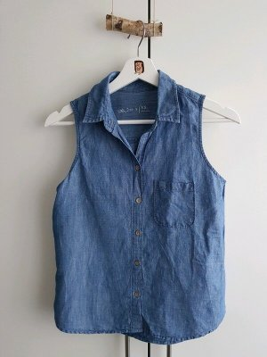 Gap Blouse en jean bleu-bleu foncé coton