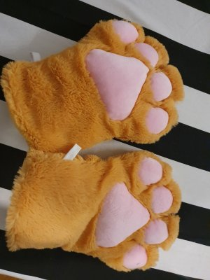 Fur Gloves gold orange-light pink