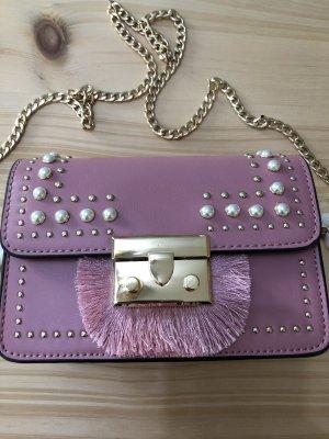 Topshop Handbag pink-gold-colored