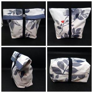 Handmade Mini sac blanc-bleu foncé coton
