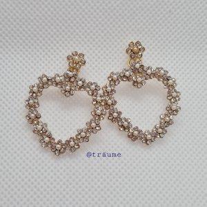süße Kunstperlen Herzen Ohrhänger in gold