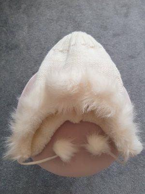 Cappello con pon pon bianco sporco