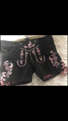Edelnice Pantalón de cuero tradicional marrón oscuro-rosa