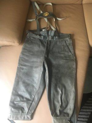 Pantalón de cuero tradicional gris verdoso