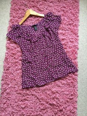 Süße Millefleurs-Bluse, lila mit Volant und Schößchen