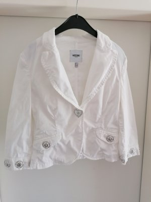 Süße Moschino Jeans Jacke Blazer Talliert XL Nieten Weiß 34 36
