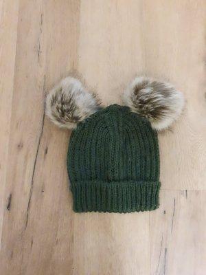 Sombrero de piel gris verdoso-verde oliva