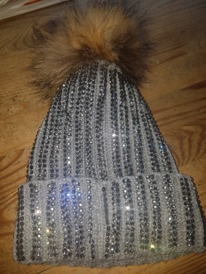 Knitted Hat silver-colored
