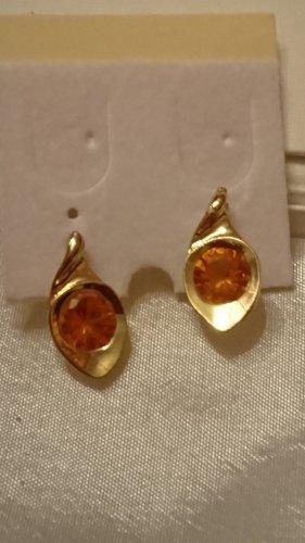 Süße Ohrringe Ohrstecker mit Orange Citrin Stein