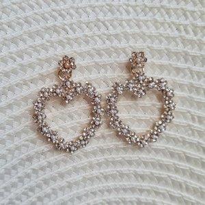 süße Perlen Herzen Ohrhänger in gold