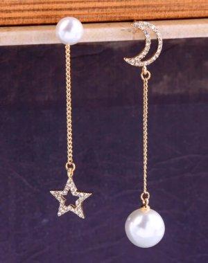 süße Perlen Ohrringe Mond & Stern goldfarben mit kleinen Strass Steinchen / 925 Sterling Silber Pin