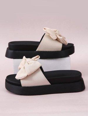 süße Plateau Sandale Pantoffeln Mit Schleife Dekor Und Flatform