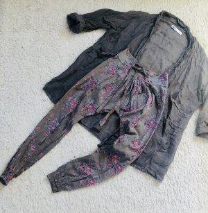 Pantalon large gris brun-rose