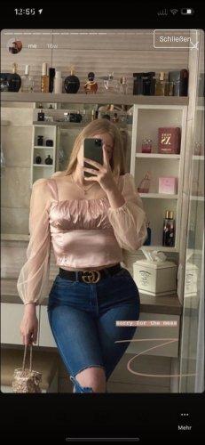 Glanzende blouse roze-lichtroze