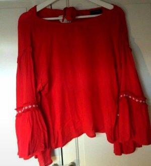 QED London Empiècement de blouses rouge