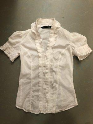 Zara Blouse à volants blanc tissu mixte