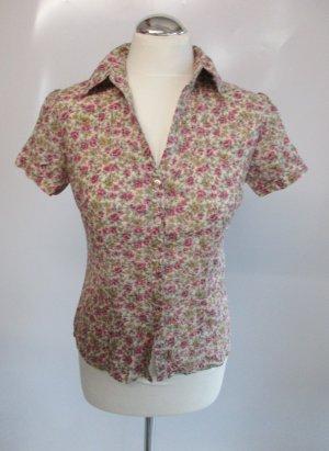 Süße s Oliver Bluse Rosa Blumen S 36 Flower Retro Hemd Rosen millefleur Shabby Kurzarmbluse Biesen