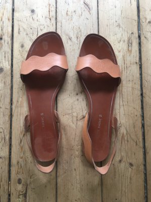 Zara Roman Sandals cognac-coloured