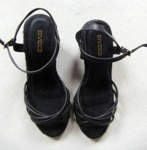 Süße schwarze Keil Wedge Sandaletten