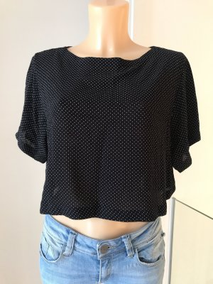 Süße schwarze Pünktchen-Bluse * kurze kastige Form