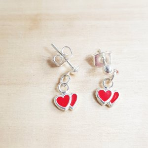 Silver Earrings silver-colored-red