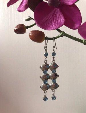 Bijou Brigitte Pendientes colgante color plata-azul claro metal