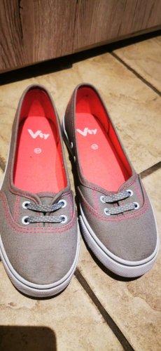 Süße Sneaker Ballerinas Stoffschuhe Gr 37  grau pink  neu und ungetragen
