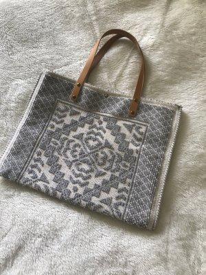 Shopper beige clair-argenté coton