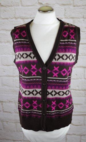 Süße Strickweste Pullunder Größe M 38 Braun Pink Lila Norweger Muster Strick Jacke Cape