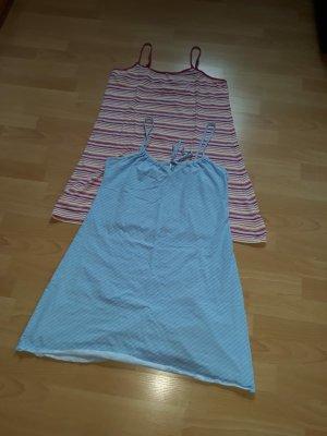 tchibo Pyjama blanc-bleu azur coton