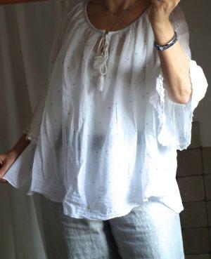 Süße Tunika, weit, Trompetenärmel, A-Linie, weiter Rundhalsausschnitt, ganz zarte Webe 100% Baumwolle, kleine Sternchen in silber, Volants, Kordel, Borte am Ausschnitt silber / , made in Italy, neuwertig, weiß/silber, Einheitsgröße S-L-XL