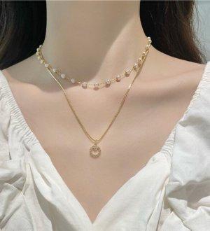 Süße vergoldete doppelkettige Perlen Halskette Choker mit Zirkon Kreis Anhänger Vintage retro