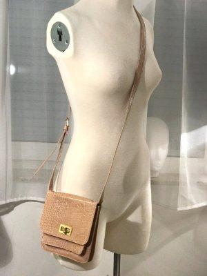 süße Vintage Blogger Lack Tasche in beige Handtasche Umhängetasche