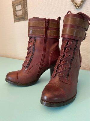 Akira Zipper Booties dark brown-bordeaux