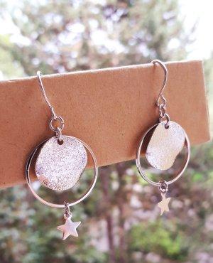 Süsse Vintage Ohrringe in Silber mit Sternen Anhänger