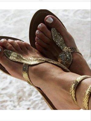 Boutique Sandalen met bandjes en hoge hakken beige-goud