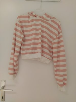 Süßer Crop kurzer Pullover Sweater Hoodie gestreift rosa weiß Streifen