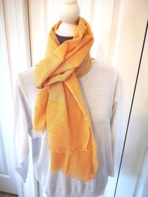 süßer gelber Schal getreift mit Goldfarben NEU