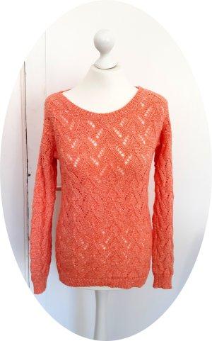 Süßer gestrickter Pullover mit geometrischem Muster in Koralle / Lachs