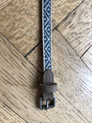 Cintura in tessuto crema-blu acciaio
