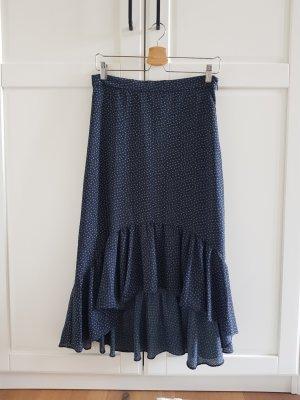 H&M Volanten rok wit-donkerblauw