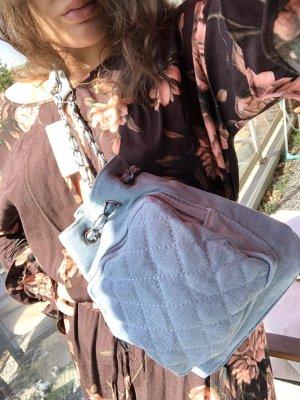 süßer Mini Rucksack Beuteltasche Denim Babyblau Jeans mit Kette gesteppt Schultertasche multifunktionale