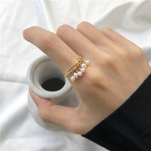 Süßer Perlen Anhänger Quasten vergoldeter Ring verstellbar