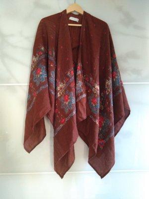 Poncho marrón-rojo