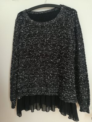 Coarse Knitted Sweater white-black
